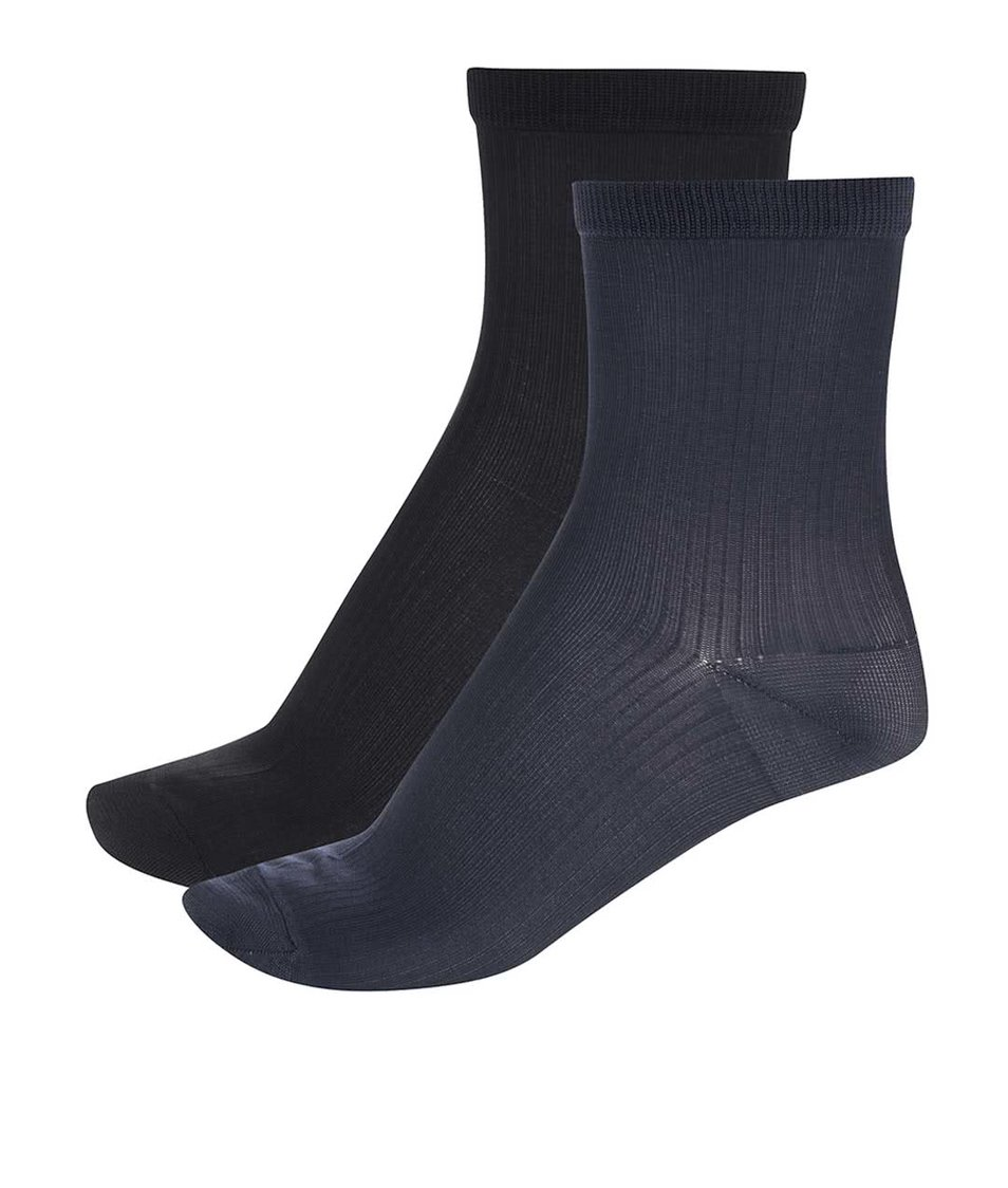 Sada dvou párů černých a tmavě modrých ponožek Pieces Polly