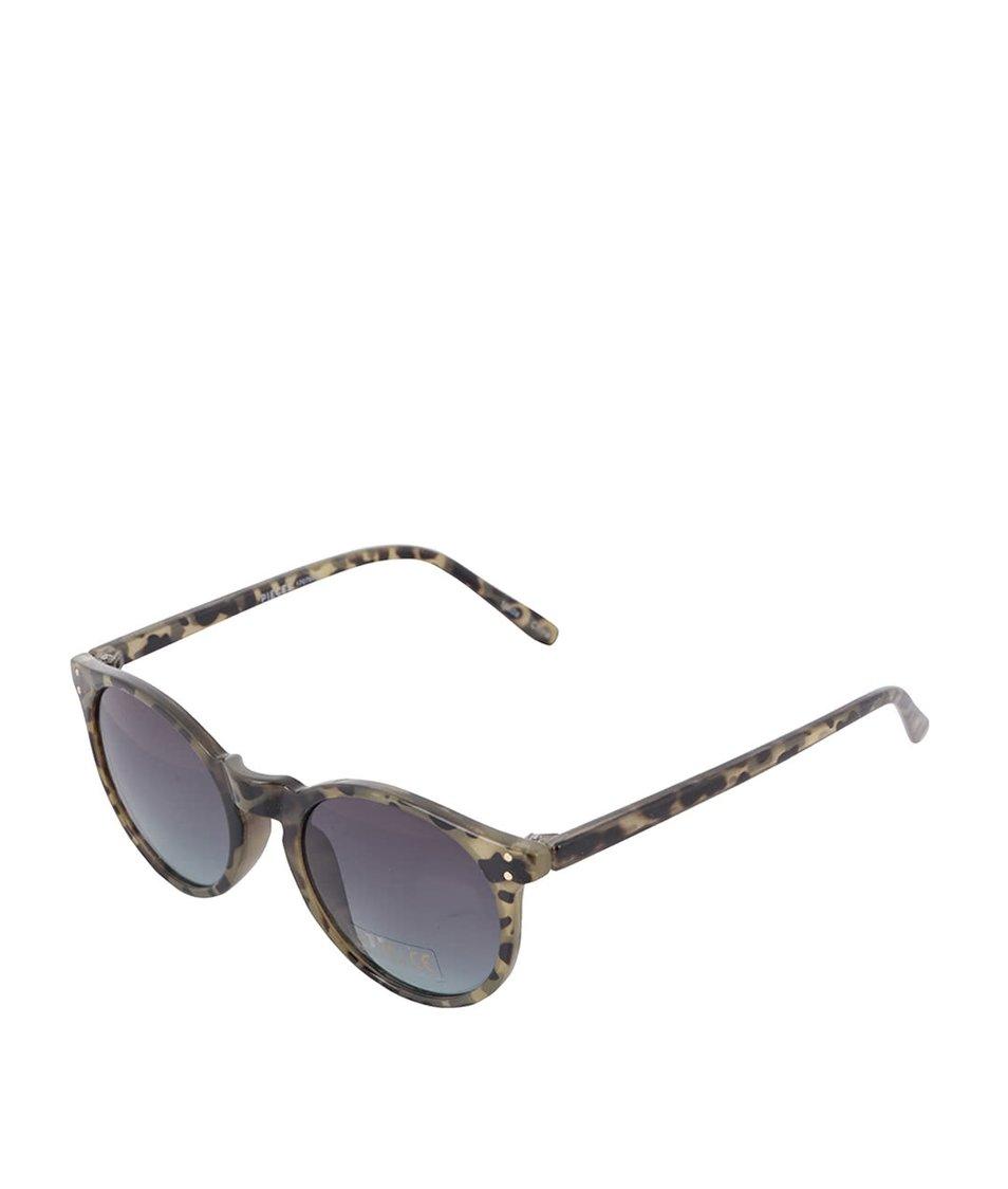 Hnědé vzorované sluneční brýle Pieces Pannu