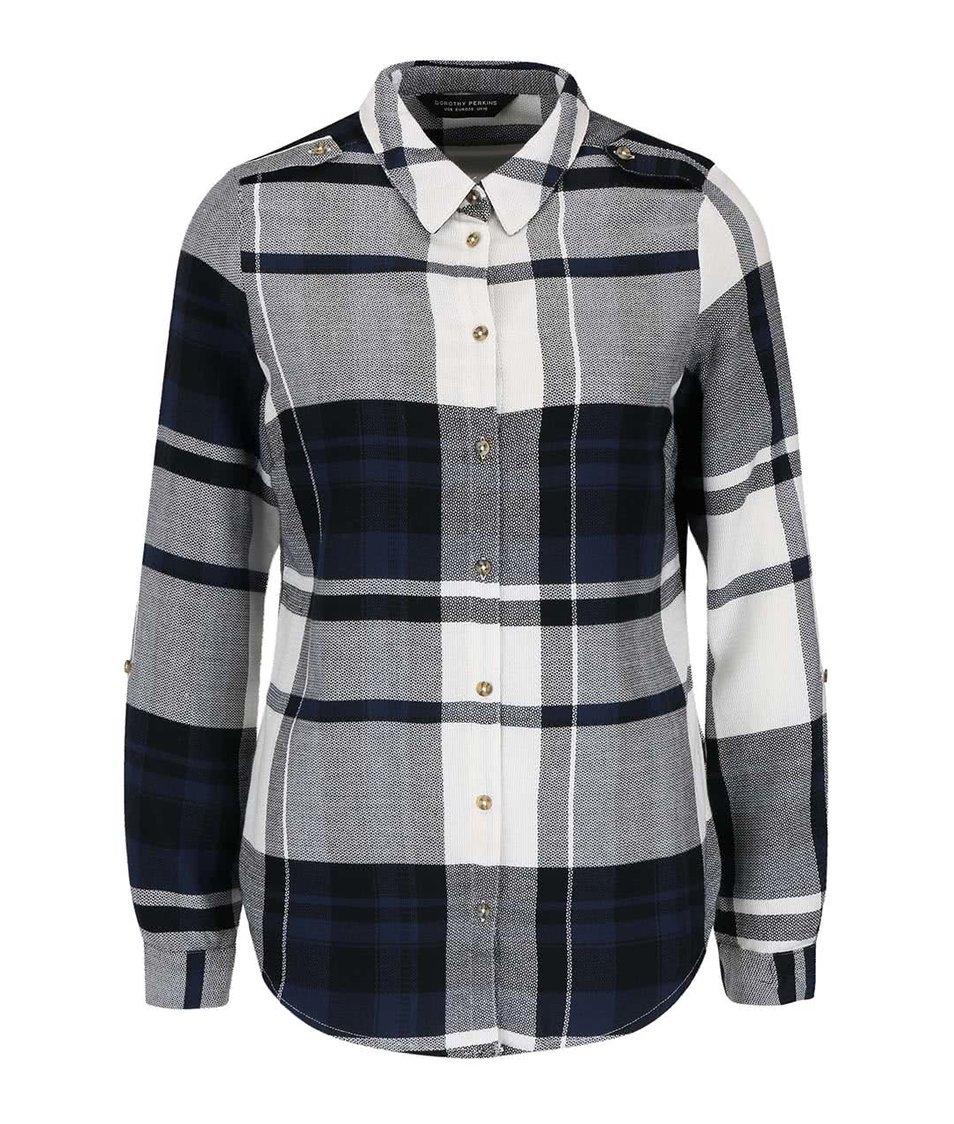 Krémovo-modrá kostkovaná košile Dorothy Perkins