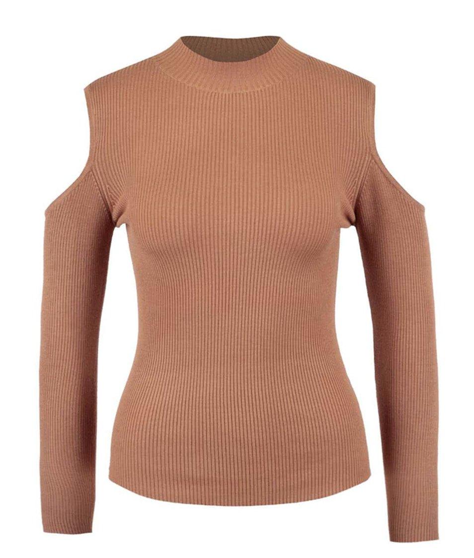 Světle hnědý žebrovaný svetr s odhalenými rameny Miss Selfridge