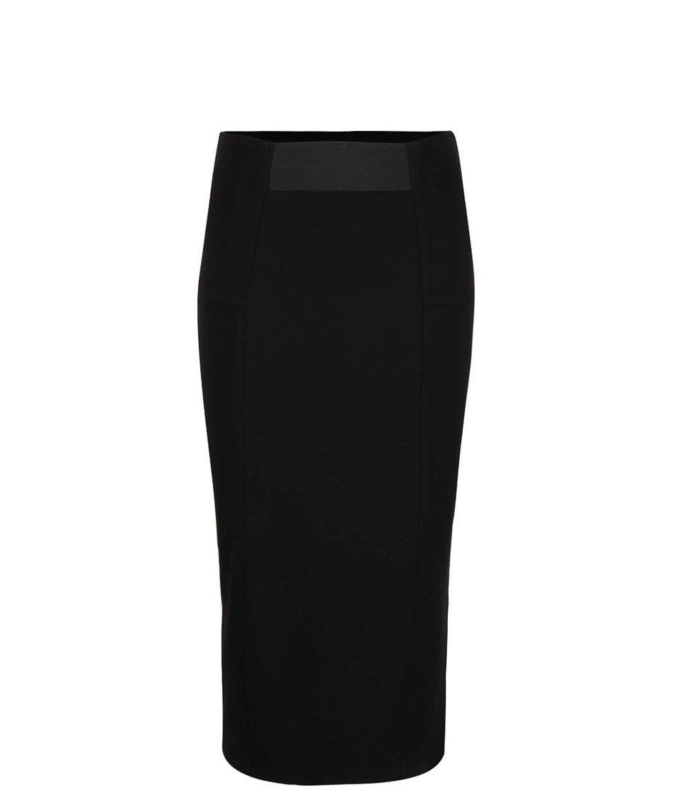Černá elastická sukně s rozparkem Dorothy Perkins