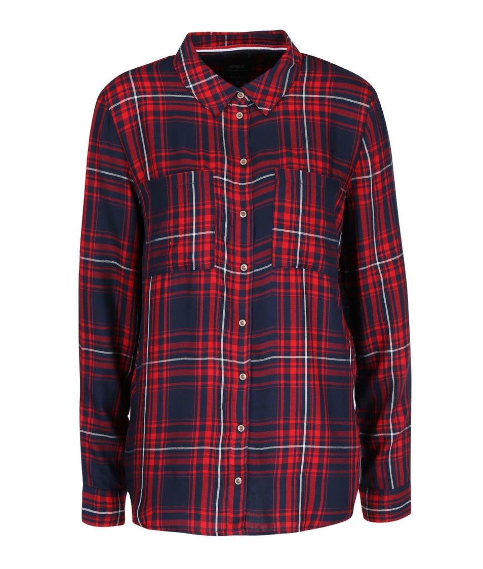 Modro-červená kostkovaná košile ONLY June
