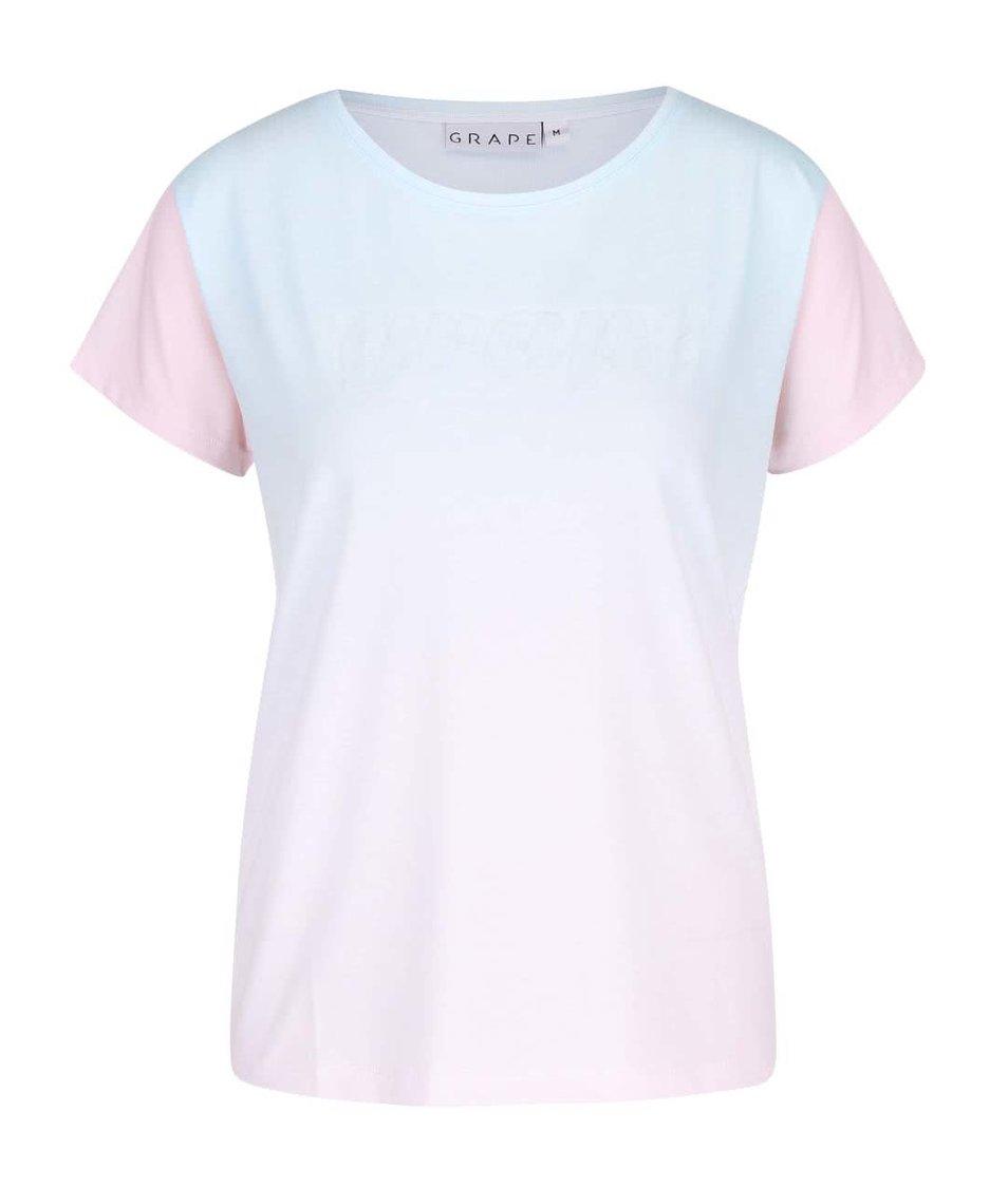 Mentolovo-růtové dámské tričko s plastickým potiskem Grape