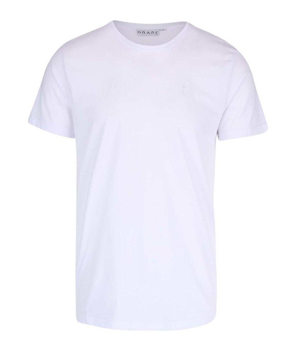 Bílé pánské triko s plastickým nápisem Grape