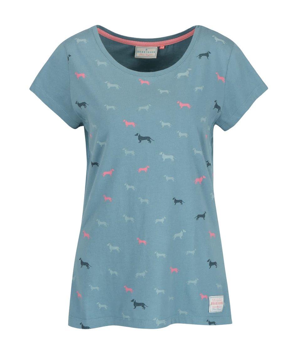 Modrozelené tričko s potiskem jezevčíků Brakeburn Sausage Dog