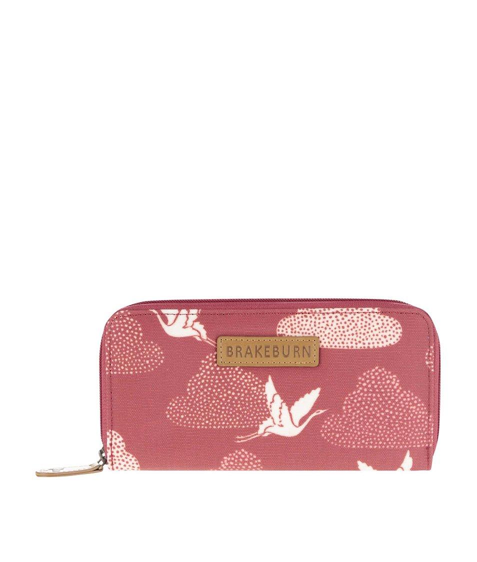 Červená delší peněženka s potiskem jeřábů Brakeburn Cranes