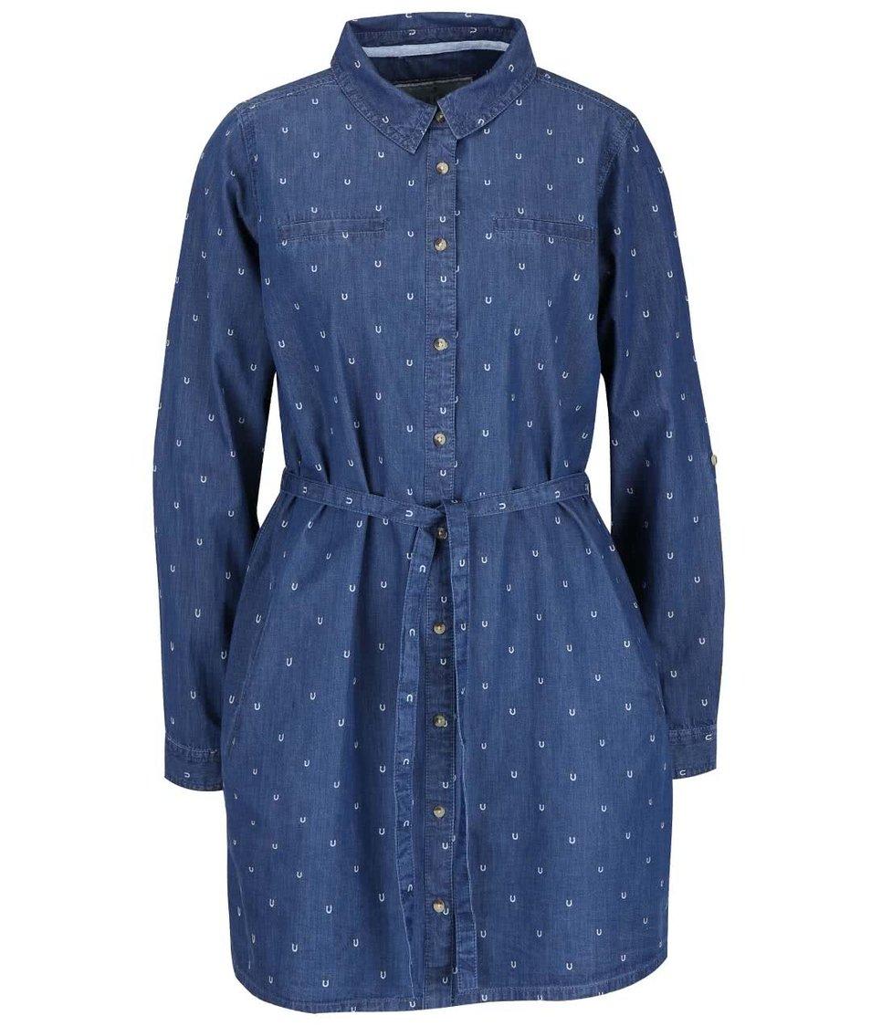 Modré denimové košilové šaty s potiskem podkov Brakeburn Horse Shoe