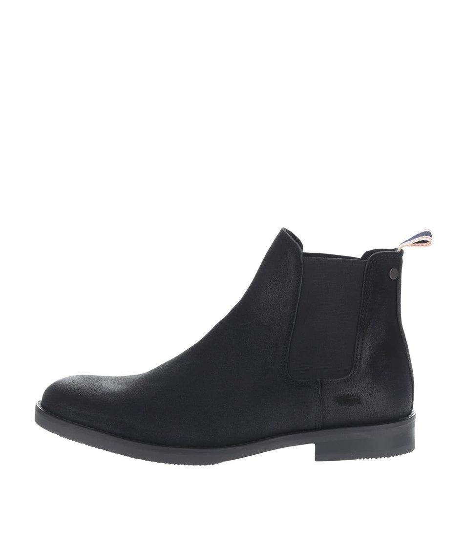 Černé kotníkové chelsea boty z broušené kůže Jack & Jones Paul