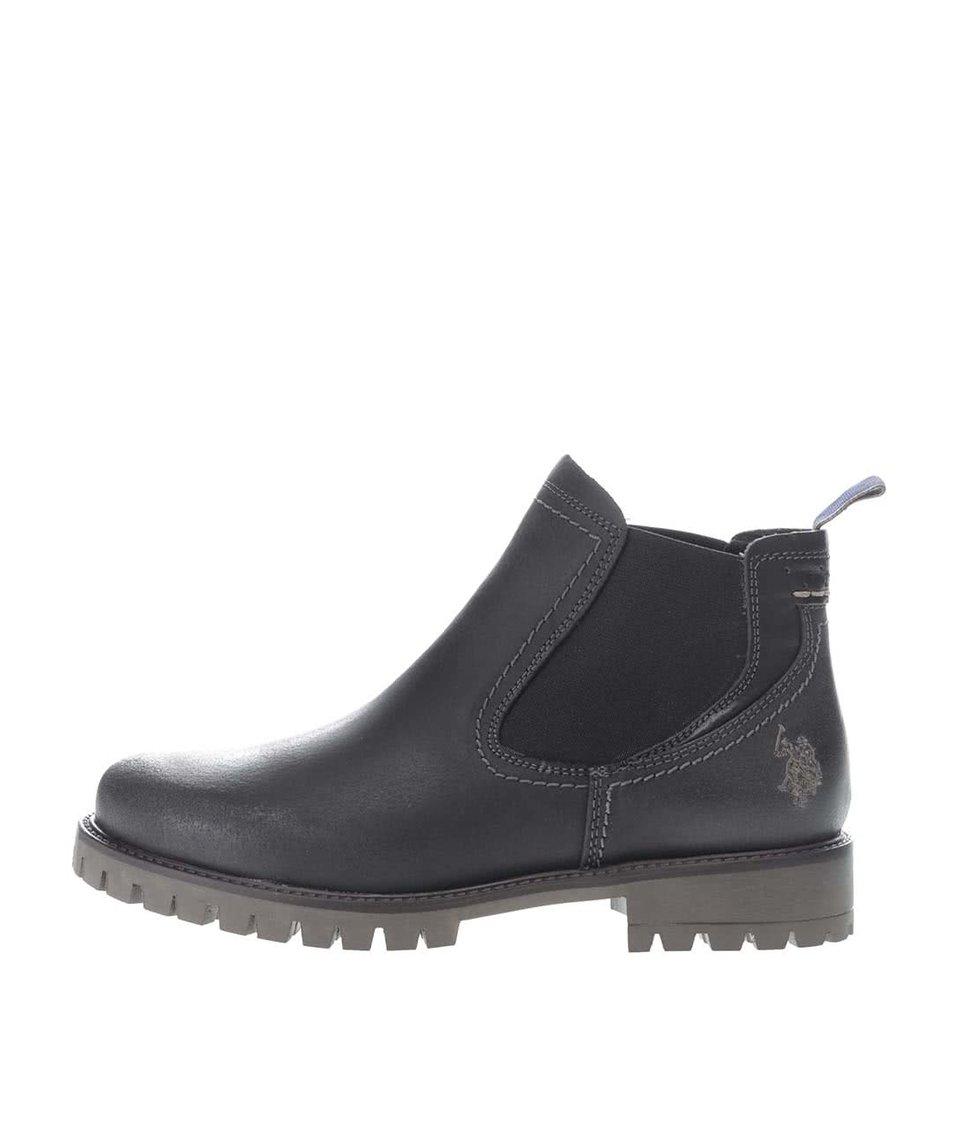Černé dámské kožené kotníkové boty U.S. Polo Assn. Petra