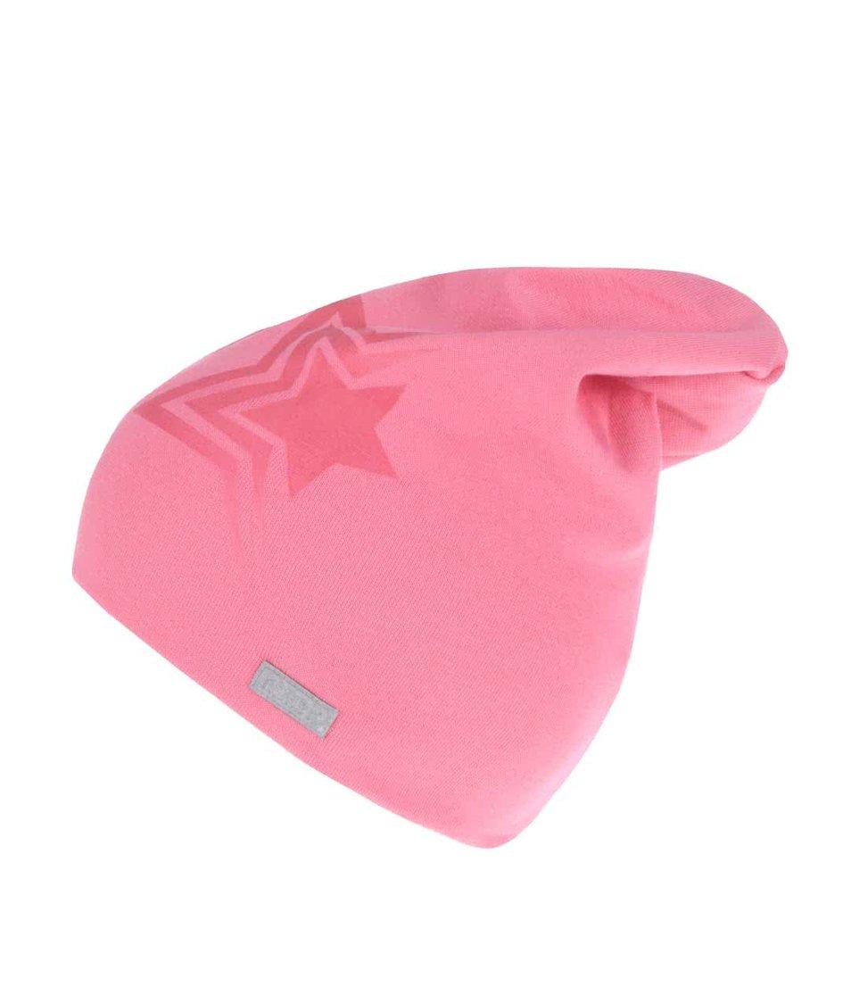Růžová holčičí čepice s potiskem hvězdy name it Moppy