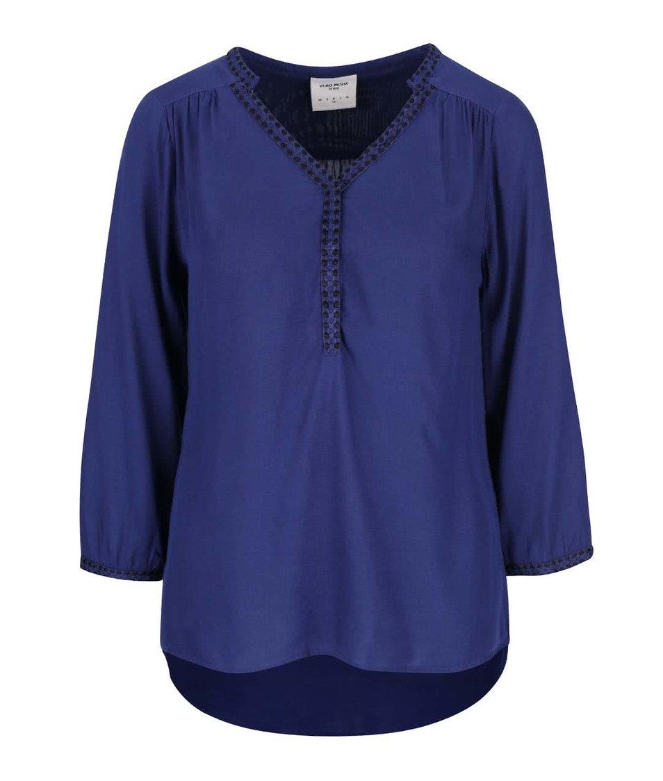 Modrá halenka s 3/4 rukávy Vero Moda Charlotte