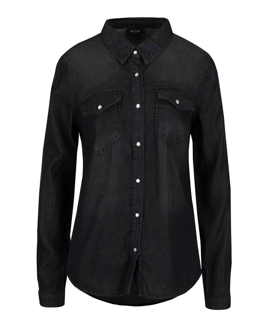 Černá denimová košile s dlouhým rukávem VILA Bista
