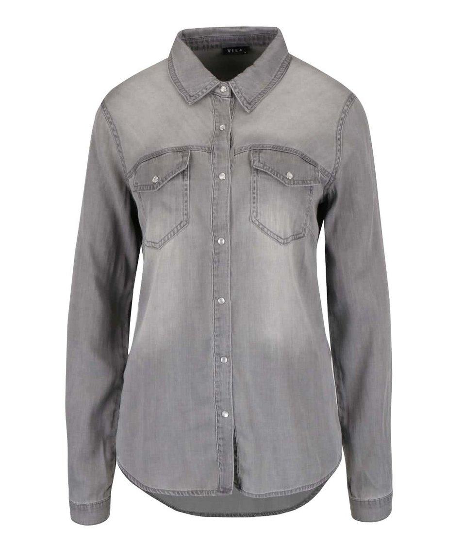 Světle šedá denimová košile s dlouhým rukávem VILA Bista