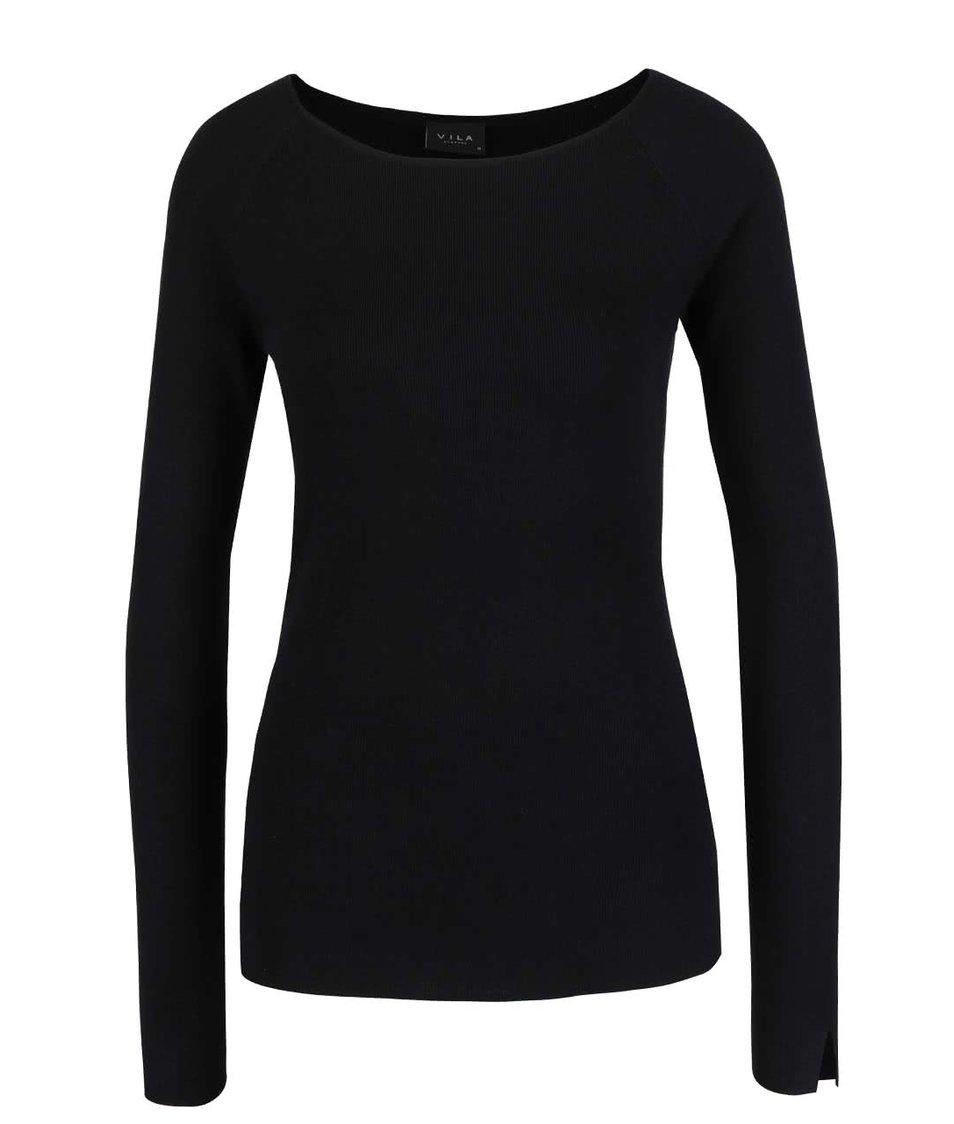 Černý lehký svetr s rozparky VILA Helena