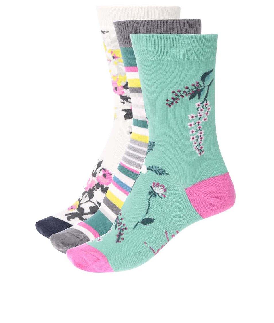 Sada tří párů barevných dámských ponožek z bambusu Tom Joule Brill