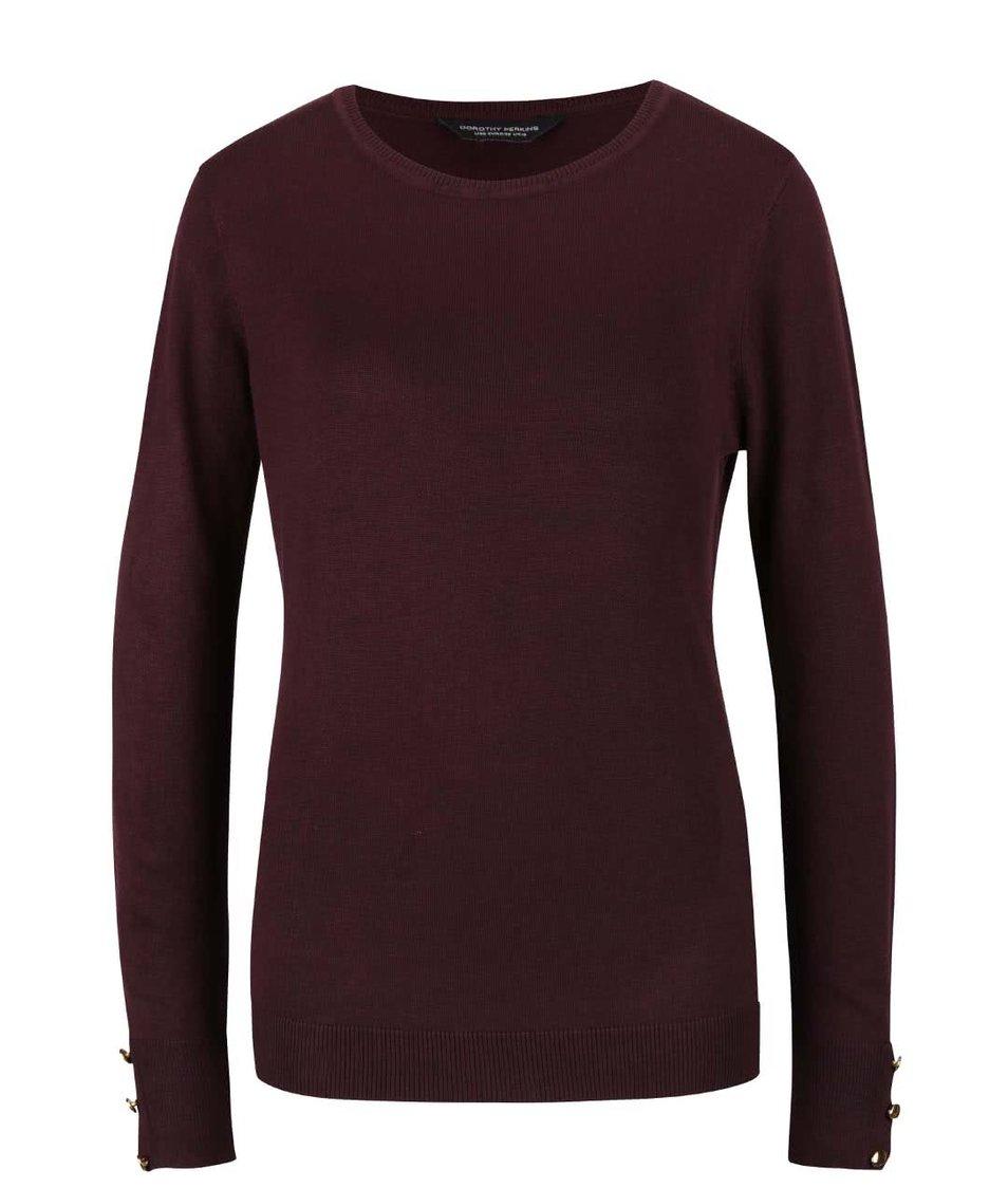 Tmavě fialový svetr s knoflíčky na rukávech Dorothy Perkins