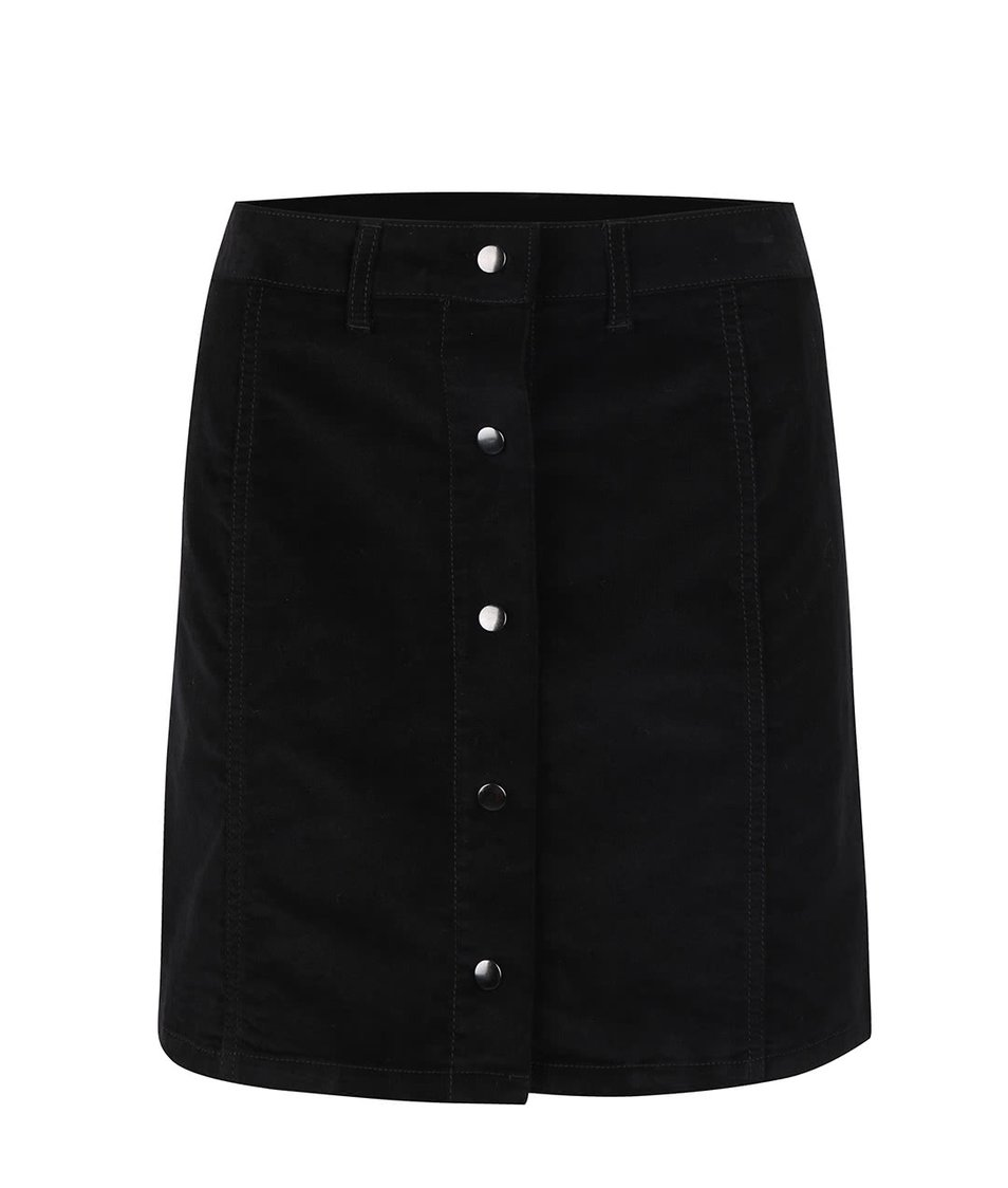 Černá manšestrová propínací sukně VILA