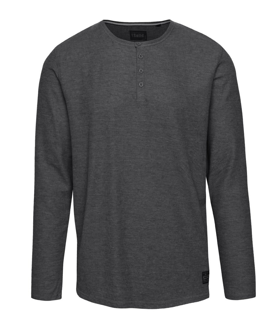 Tmavě šedé žíhané žebrované triko s dlouhým rukávem !Solid Elert