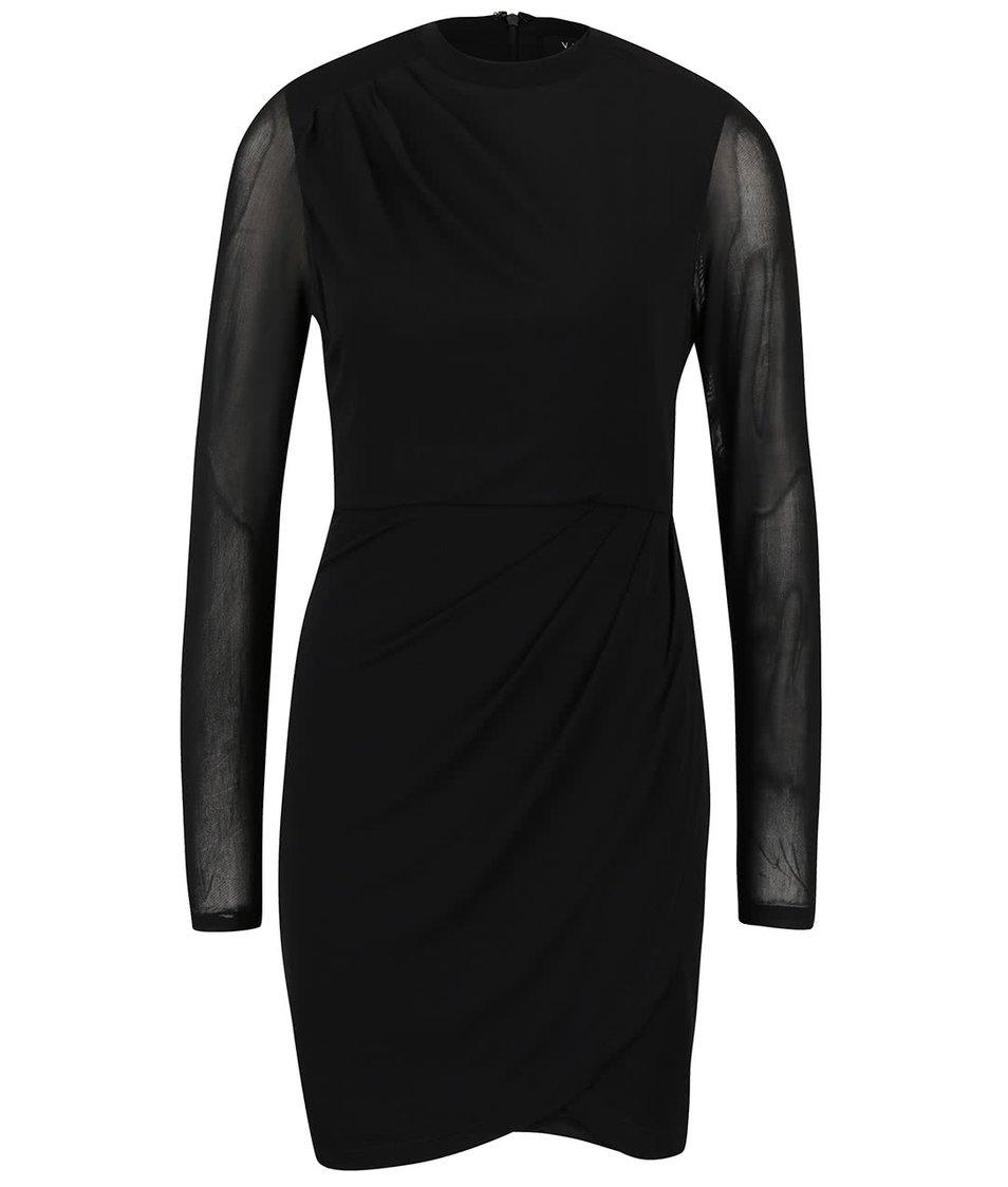Černé šaty s průhlednými rukávy VILA