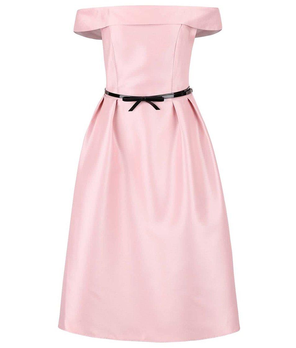 Světle růžové šaty s páskem a odhalenými rameny Dorothy Perkins