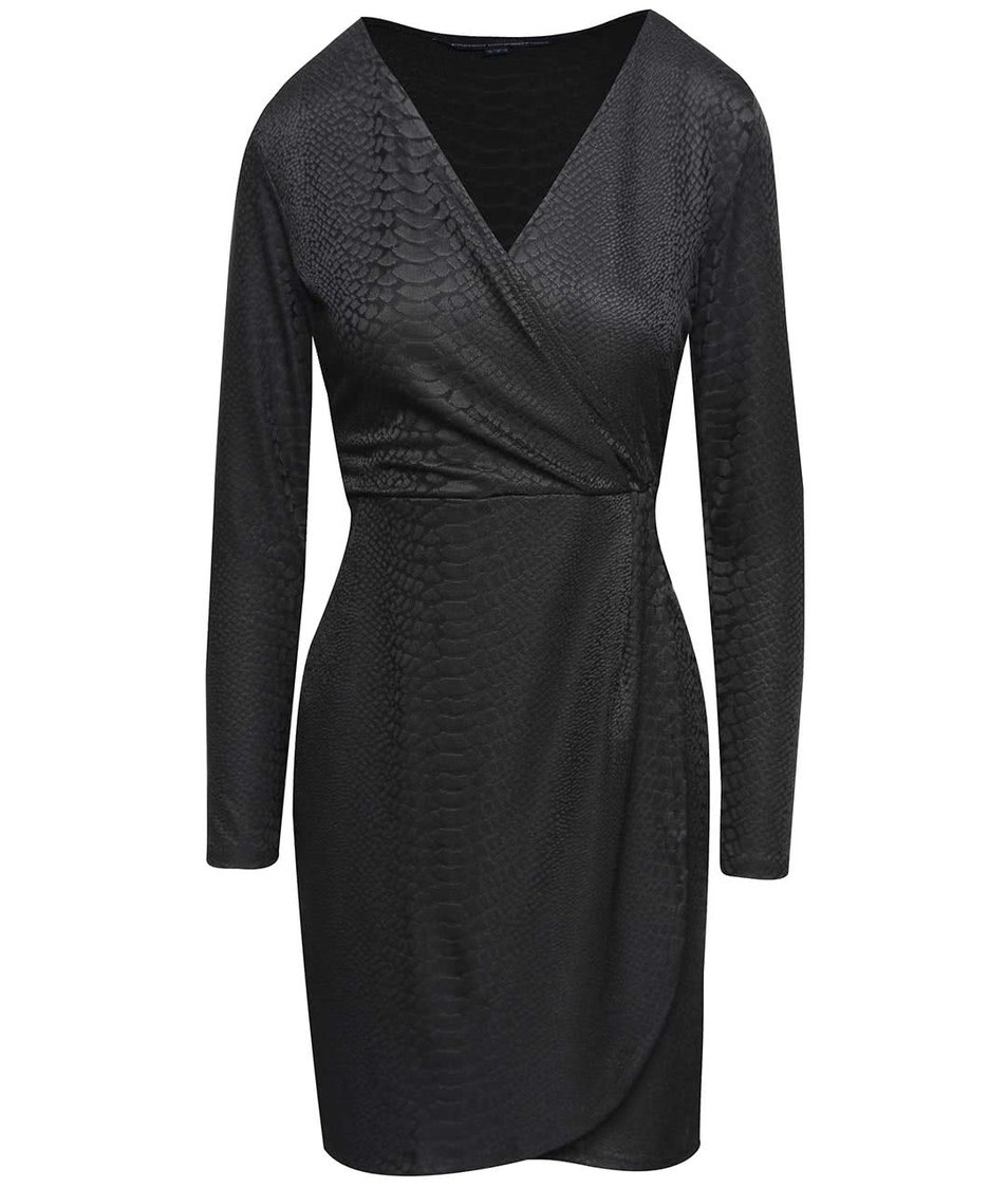Černé šaty s hadím vzorem French Connection Snake