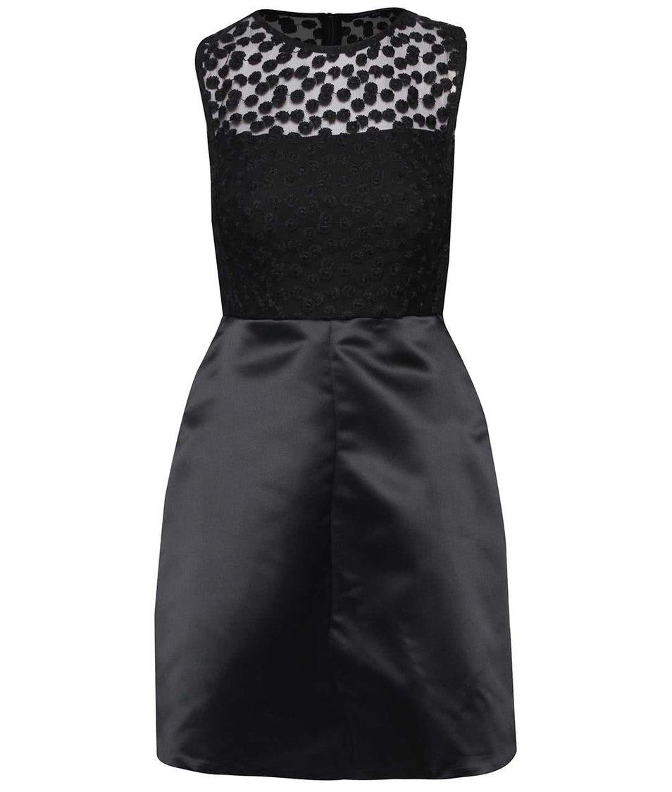 Černé šaty se síťovaným topem French Connection Chelsea