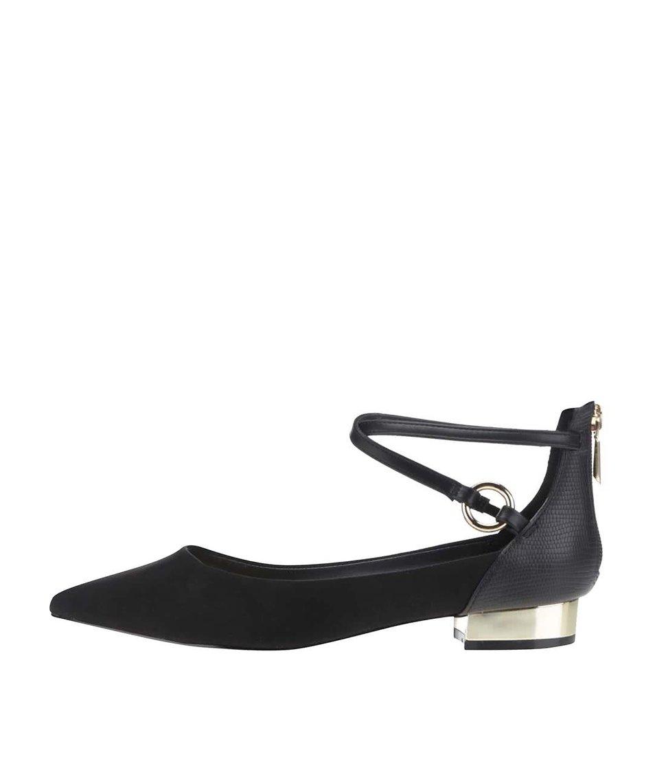Černé dámské sandály se špičkoou v semišové úpravě ALDO Biacci