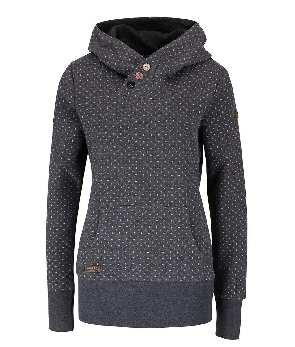Tmavě šedá puntíkovaná dámská mikina s kapucí Ragwear Chelsea Dots