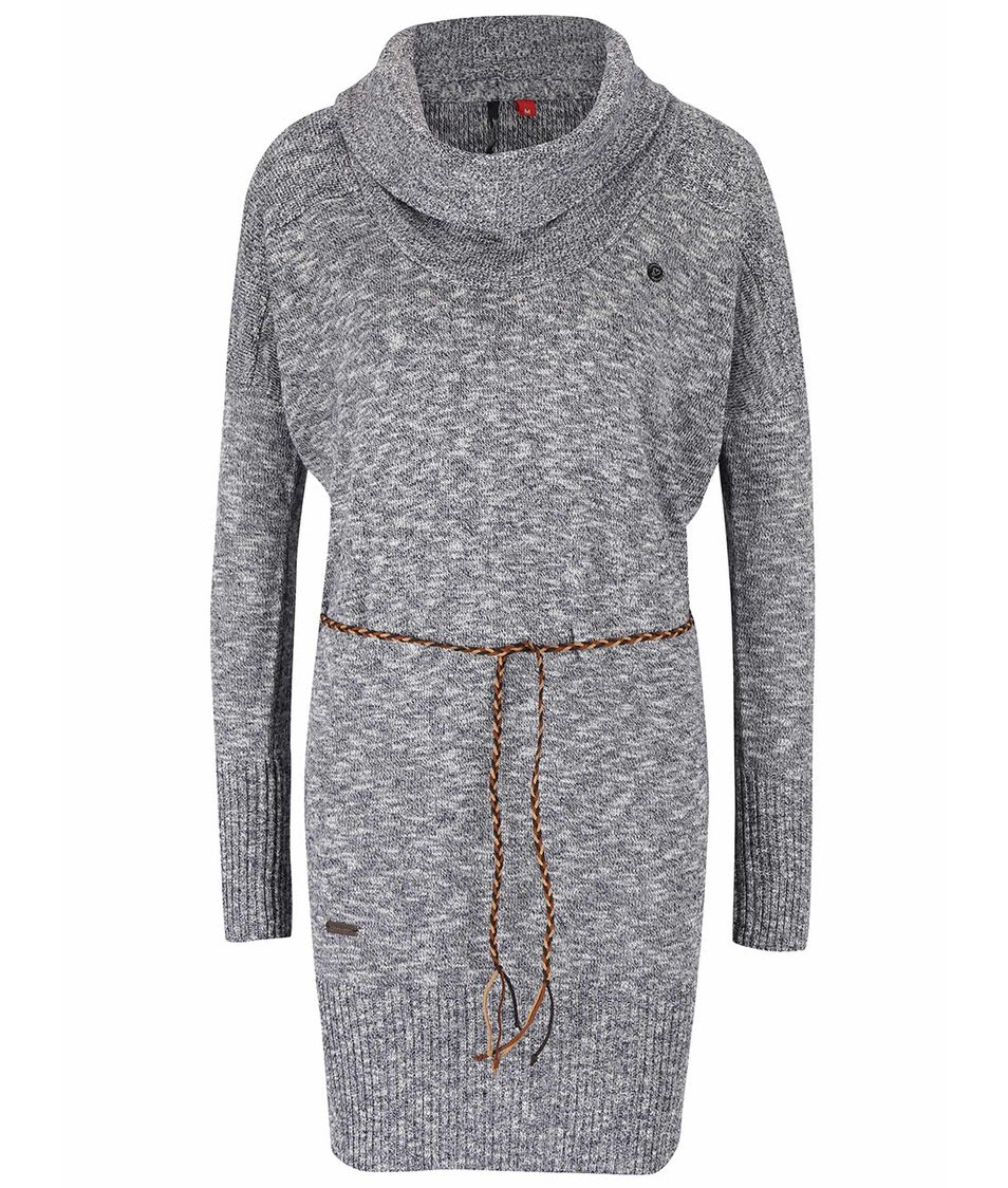 Tmavě šedé dámské žíhaný svetrové šaty s páskem Ragwear Port