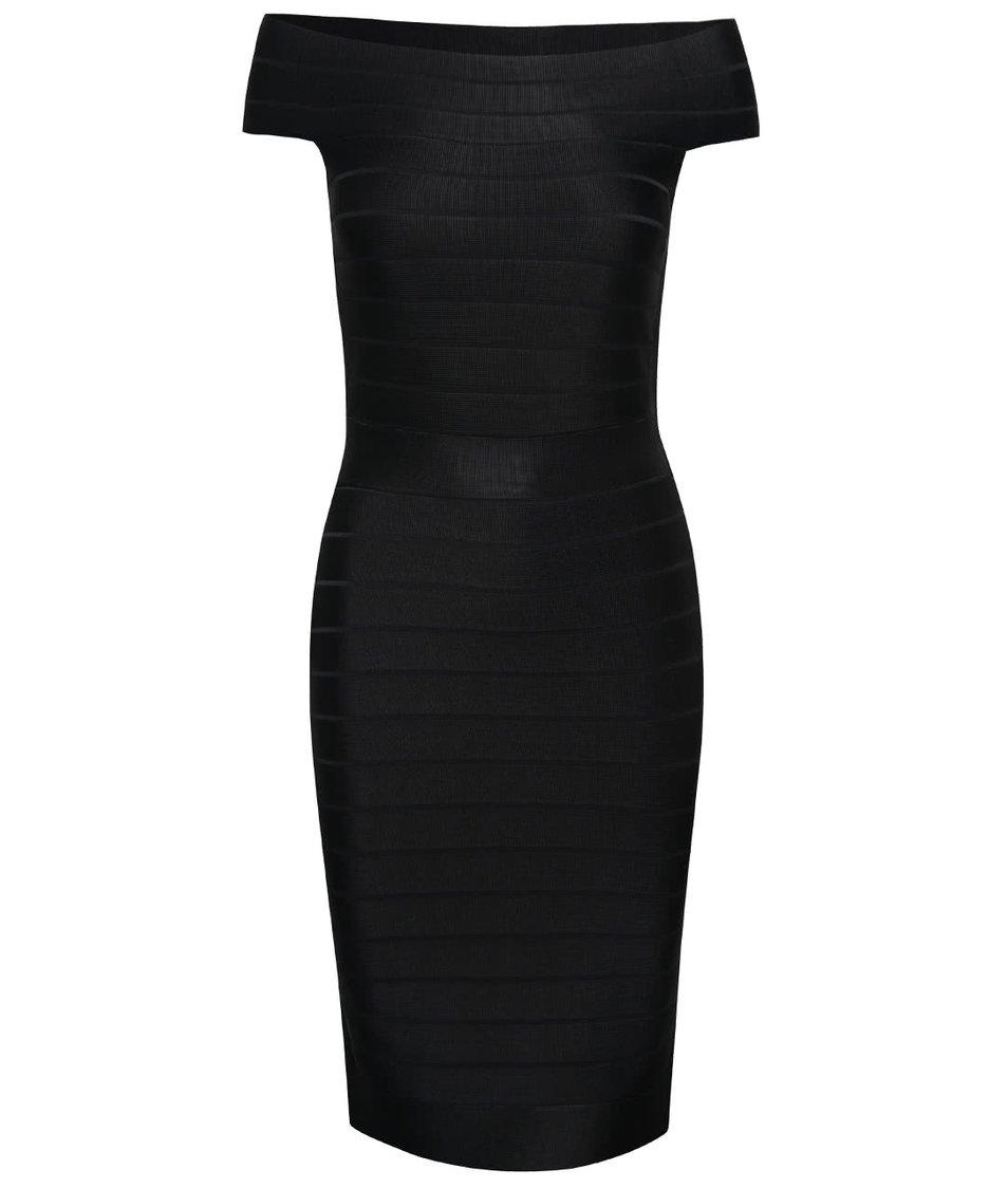 Černé šaty s lodičkovým výstřihem French Connection Spotlight