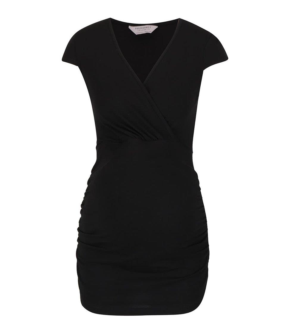 Černé těhotenské tričko s véčkovým výstřihem Dorothy Perkins Maternity