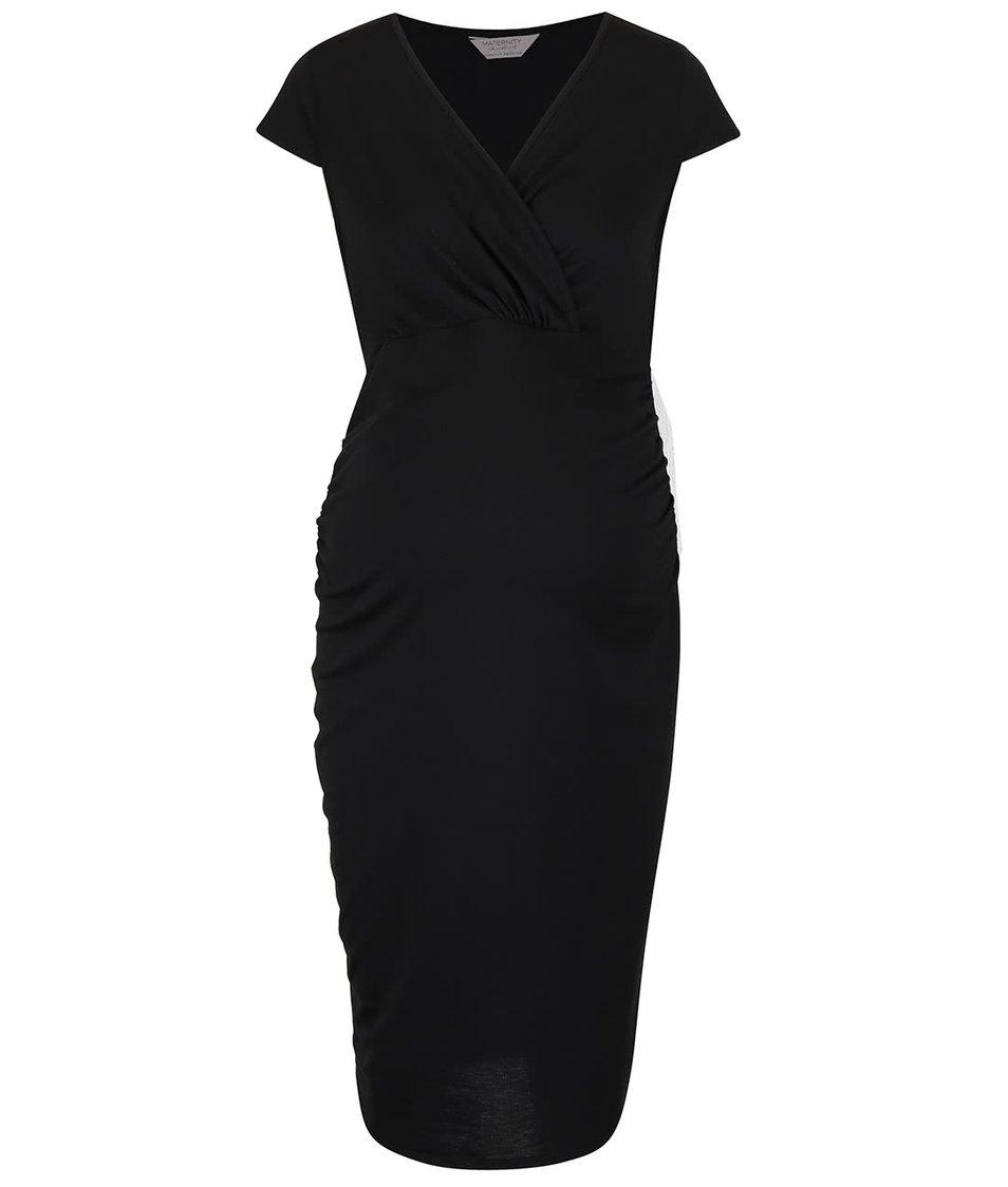 Černé těhotenské šaty s překříženým výstřihem Dorothy Perkins Maternity