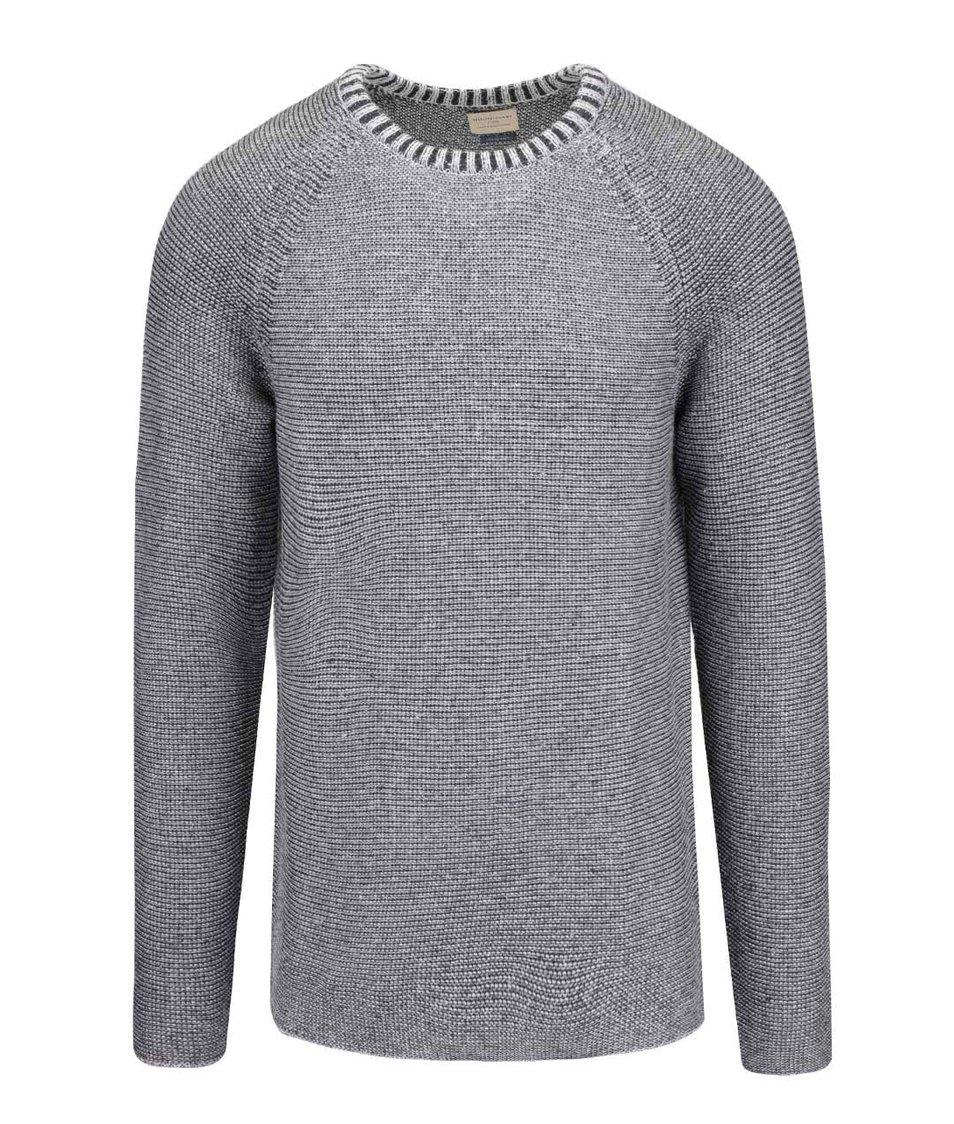 Světle šedý žíhaný svetr Selected Homme Mel