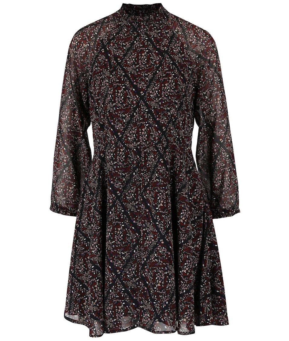 Černé květované šaty s dlouhým rukávem Vero Moda Harly
