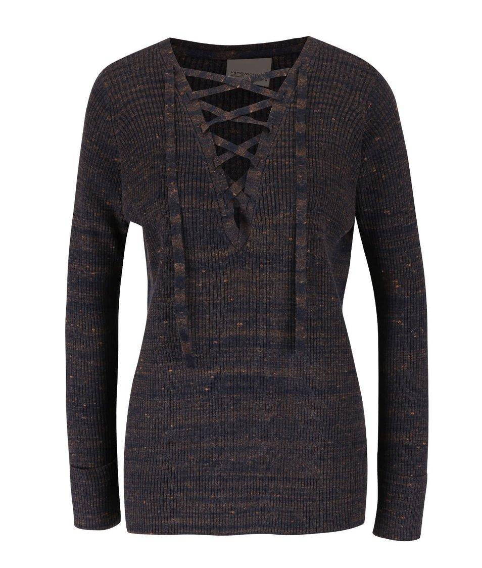 Tmavě modrý žíhaný svetr se šněrováním Vero Moda Ludwig