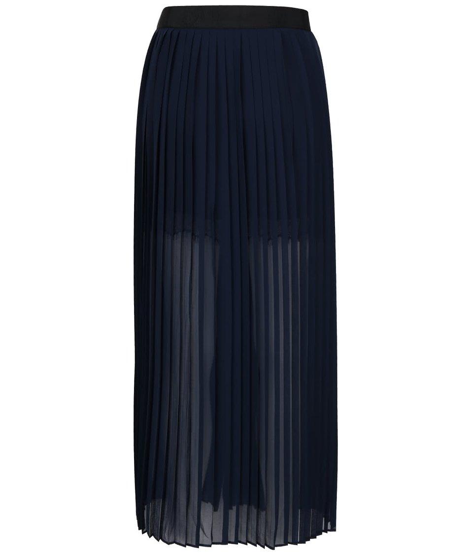 Tmavě modrá plisovaná maxi sukně French Connection Cooper