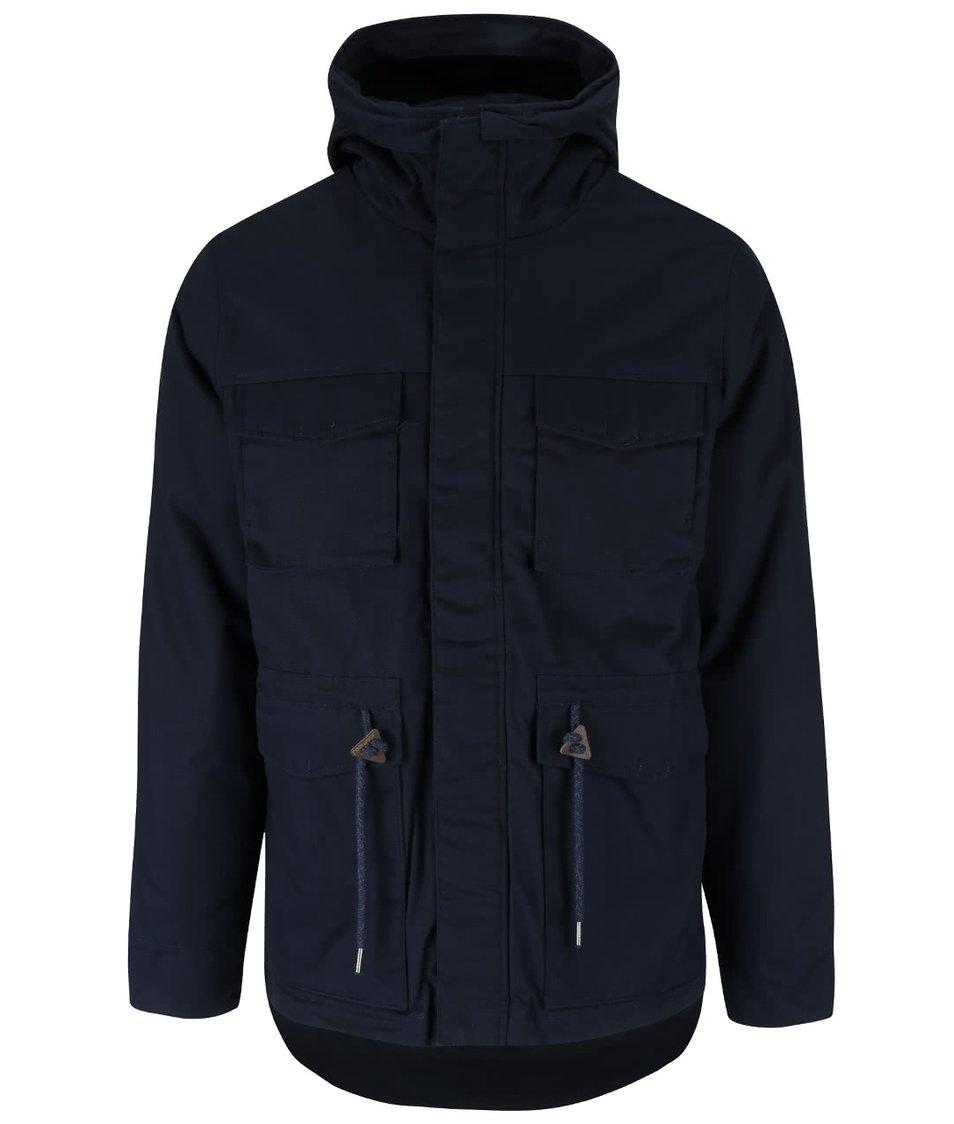 Tmavě modrá pánská parka s kapucí v límci Ragwear Monk