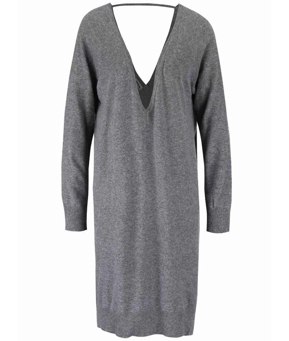 Šedé svetrové volnější šaty s véčkovým výstřihem Noisy May Mena