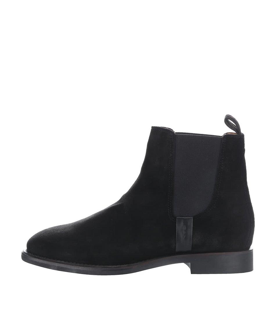 Černé dámské kotníkové boty z broušené kůže GANT Jennifer