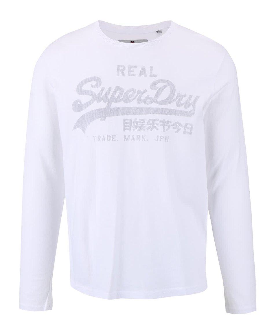 Bílé pánské triko s potiskem a dlouhým rukávem Superdry