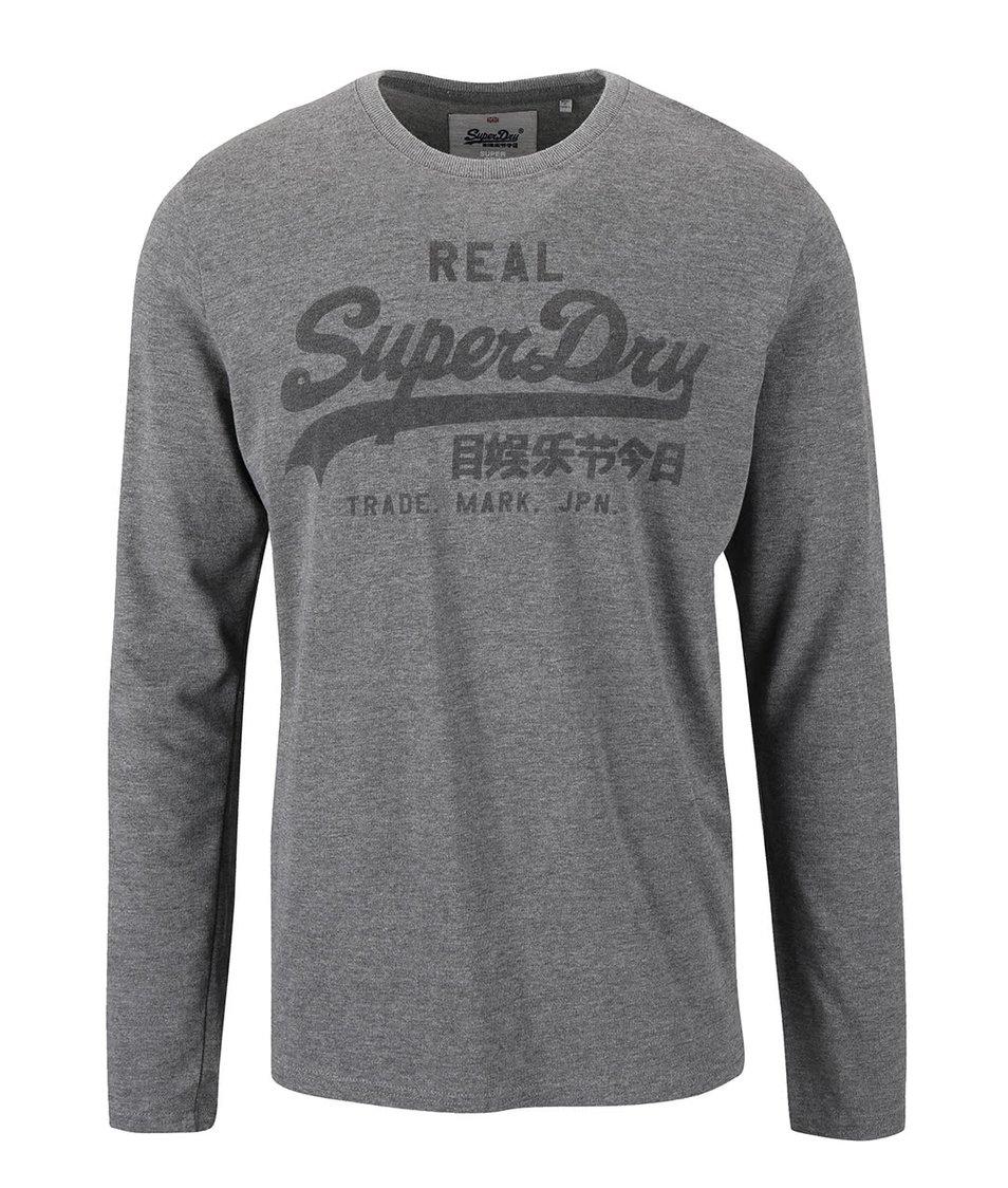 Šedé pánské triko s potiskem a dlouhým rukávem Superdry