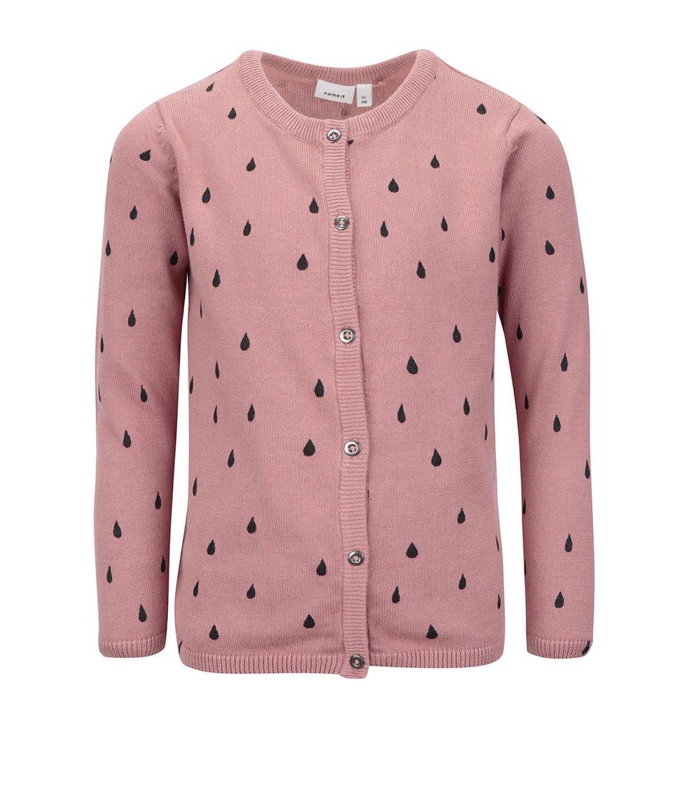 Růžový holčičí propínací svetr s potiskem kapek name it Nitwendy