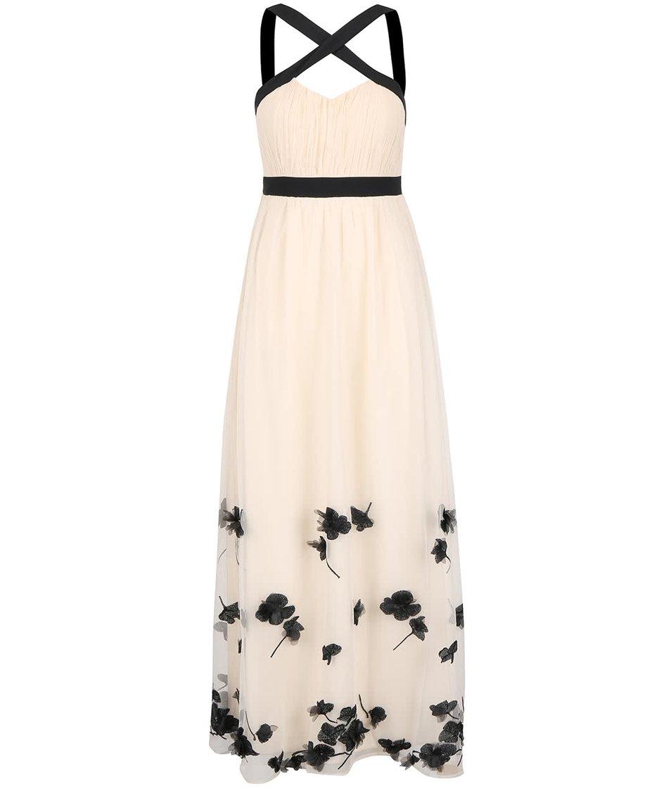 Krémové dlouhé šaty s černými květy Little Mistress