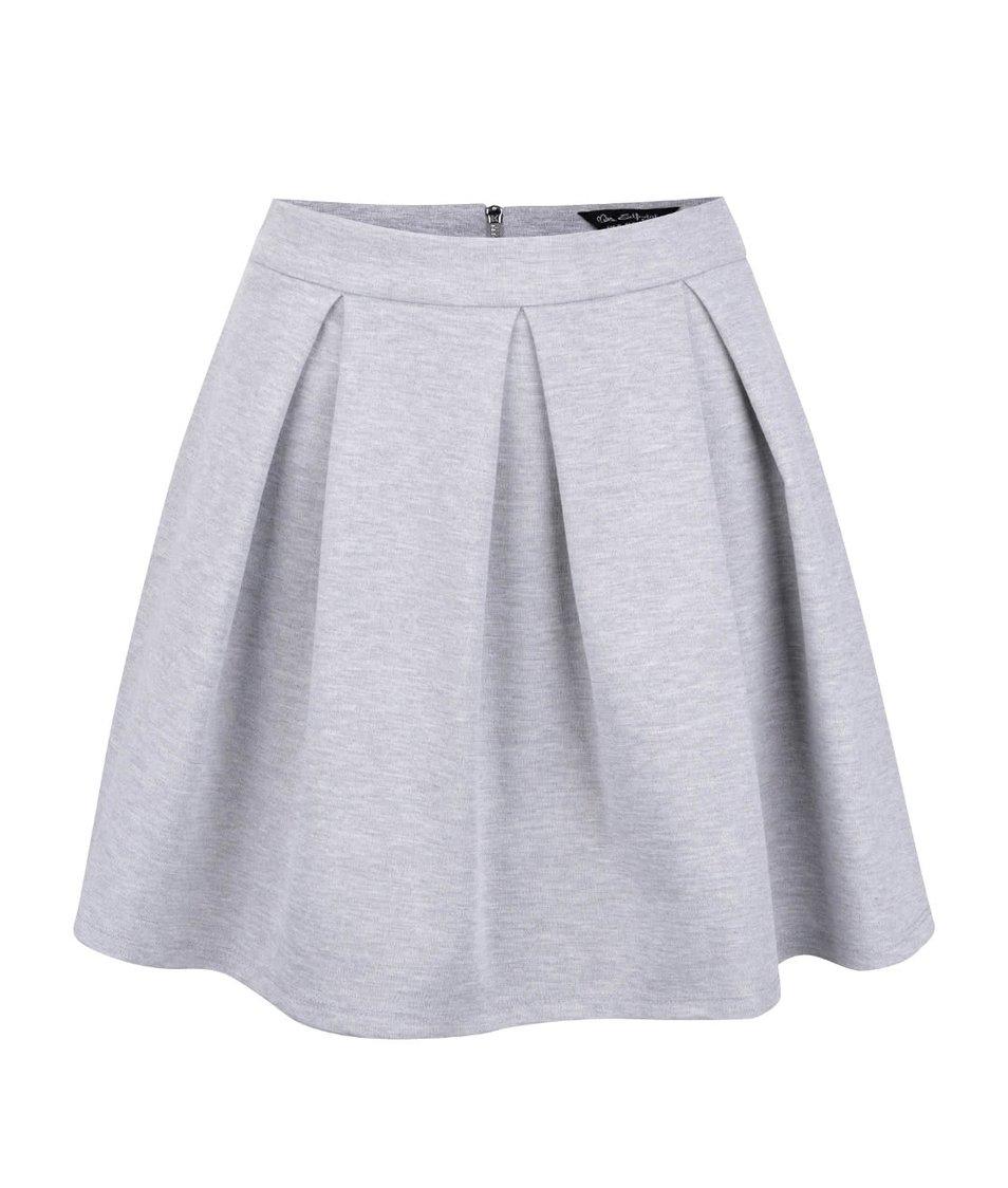 Šedá žíhaná tepláková sukně Miss Selfridge