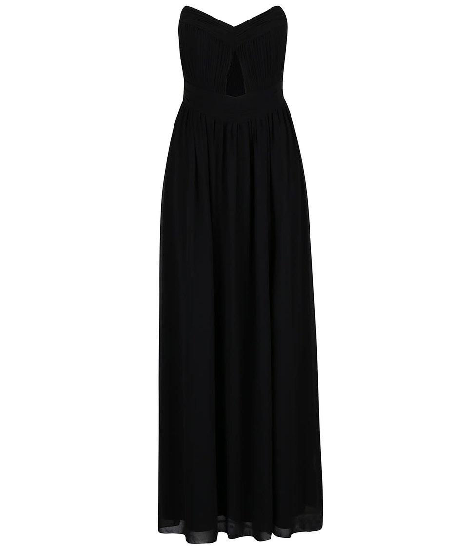 Černé dlouhé šaty s průstřihem v dekoltu Little Mistress
