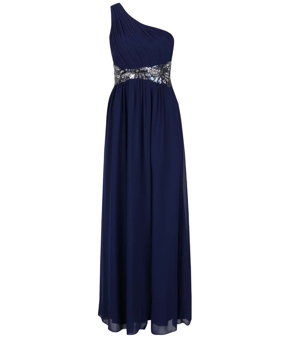 Tmavě modré dlouhé šaty s ozdobným páskem Little Mistress