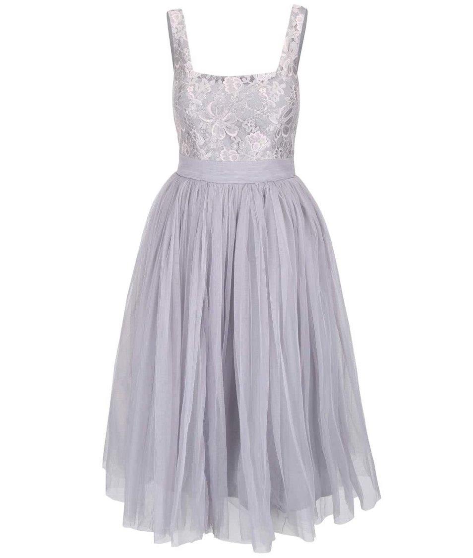 Šedé šaty s ozdobným živůtkem Little Mistress
