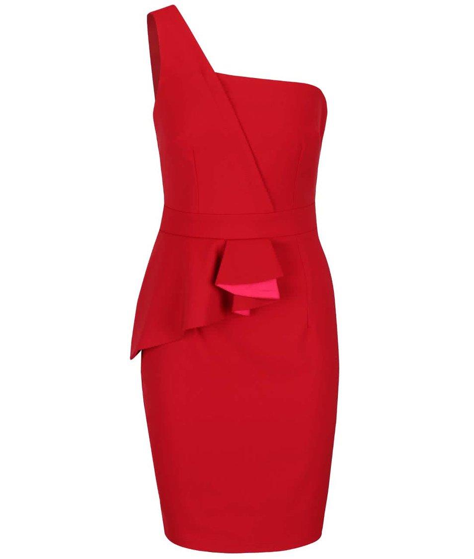 Červené šaty přes jedno rameno Little Mistress