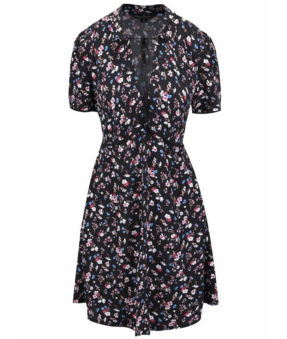 Černé šaty s květinovým potiskem Miss Selfridge