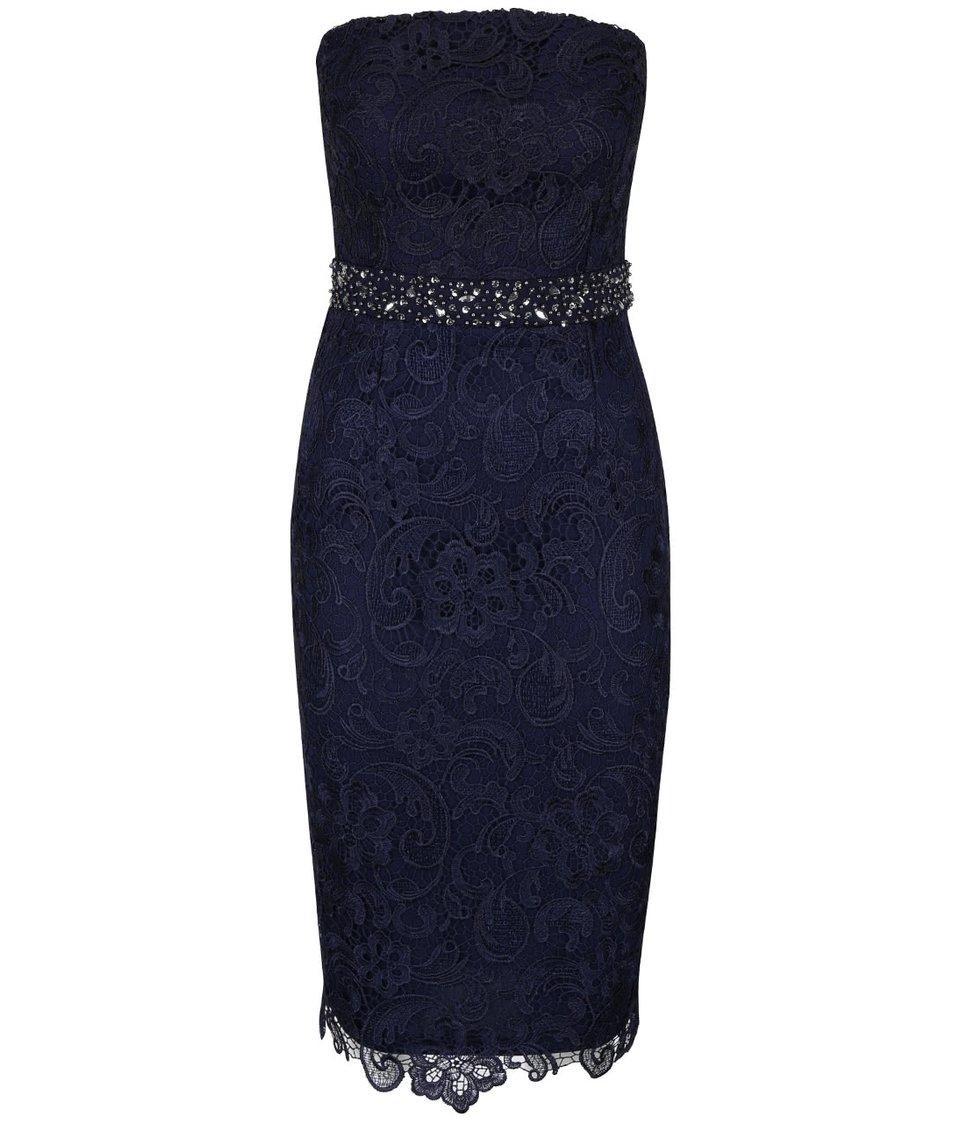Tmavě modré krajkované šaty Little Mistress